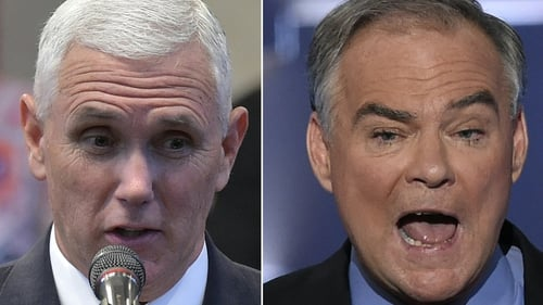 Mike Pence (L) will go head-to-head against Tim Kaine