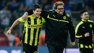 Robert Lewandowski and Jurgen Klopp during their time together at Dortmund