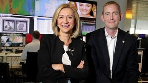 Vodafone Ireland CTO Madalina Suceveanu (L), and the company's HR Director James Magill (R)
