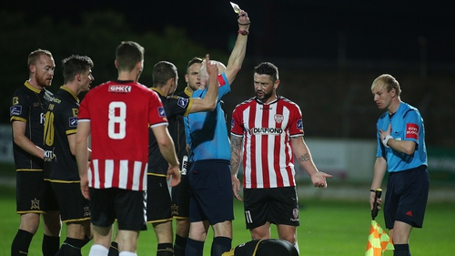 Referee David McKeon books Derry's Rory Patterson