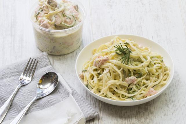 Salmon pasta with hidden corgetti!