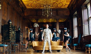 A still from the video of Robbie William's new single, Party Like A Russian