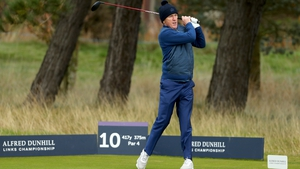 AP McCoy plays off the 10th tee during the first round of the Alfred Dunhill Links Championship