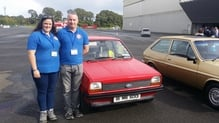 The team behind Ireland's oldest road-going Ford Fiesta, John Egan and Ciara Kinsella.