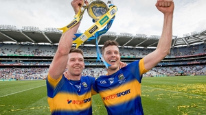 Padraic Maher and Seamie Callanan celebrate All-Ireland success in 2016
