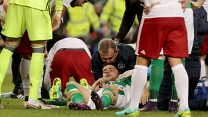 Brady receives treatment on the Aviva Stadium pitch after his clash of heads