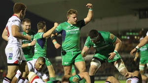 James Connolly celebrates his try