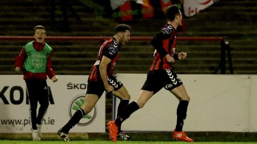 Roberto Lopes celebrates scoring for Bohs