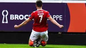 Byrne celebrates scoring again for Pat's