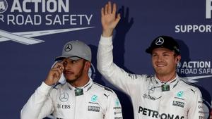 Lewis Hamilton (L) with nico Rosberg