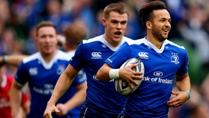 Jamison Gibson-Park after he scored Leinster's third try