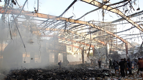 Authorities in the Yemeni capital said the air strike killed at least 82 people