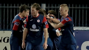 Sligo celebrate Phil Roberts goal