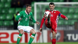 James McCarthy was battling for the ball for Ireland