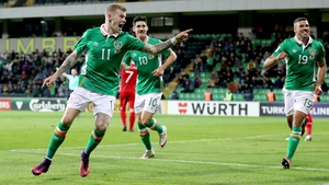 James McClean celebrates his first goal and Ireland's second