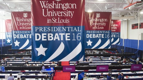 The media centre is seen prior to the second presidential debate between Hillary Clinton and Donald Trump at Washington University in St. Louis
