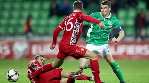 Seamus Coleman in action against Moldova