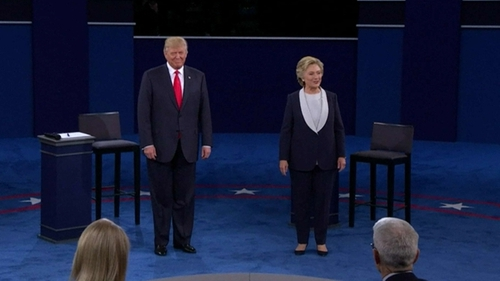 Hillary Clinton and Donald Trump face each other in the second presidential debate