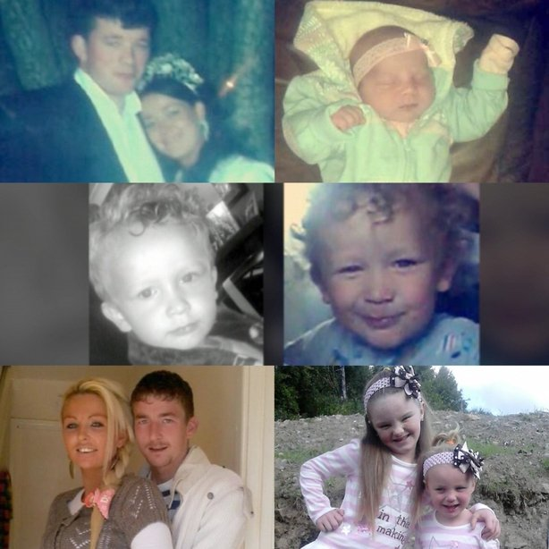(Top) Thomas and Sylvia Connors, and Mary Connors. Middle Row: Jim and Christy Connors. Bottom row: Tara Gilbert and Willie Lynch, and Jodie and Kelsey.