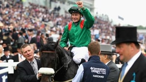 Pat Smullen and Harzand after winning the Epsom Derby in June