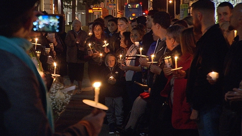 A vigil was held outside Leinster House tonight