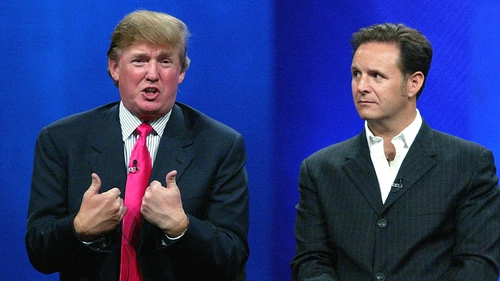 Donald Trump and Mark Burnett at the Television Critics' Association press tour in Los Angeles in 2004