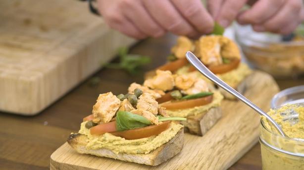 Salmon and Hummus Bruschetta
