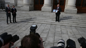 Minister For Finance Michael Noonan presents the 2016 budget earlier today.