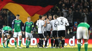 Germany celebrate Julian Draxler's goal