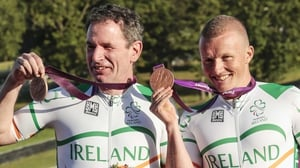 James Brown (L) with Damien Shaw celebrating with their 2012 Paralympic Games bronze medals