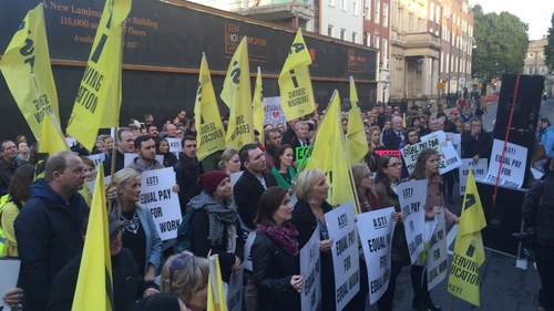 ASTI members demonstrated outside Leinster House this evening
