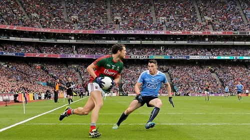 Parsons takes on Dublin's Paddy Andrews at Croke Park in the replayed All-Ireland final