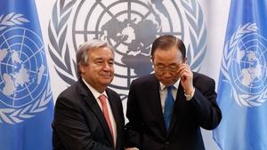 Antonio Guterres (left) has taken over the position from South Korea's Ban Ki-moon