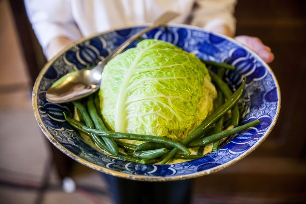 French Beans Ragooed with Cabbage