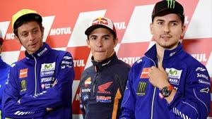 L-R: Valentino Rossi, Marc Marquez and Jorge Lorenzo