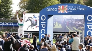 Frankie Dettori with his now trademark dismount from Journey