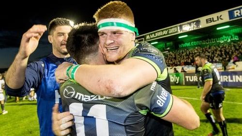 Danny Qualter, Cian Kelleher and Sean O'Brien celebrate victory
