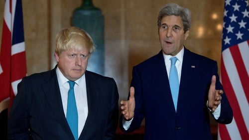 British Foreign Secretary Boris Johnson (left) and US Secretary of State John Kerry following a meeting in London to discuss the situation in Syria