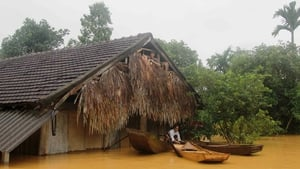 Floods surround houses in Ha Tinh province, Vietnam