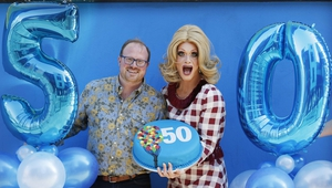 Project Arts Centre Artistic Director Cian O'Brien with Queen Of Ireland (and Project regular) Panti Bliss