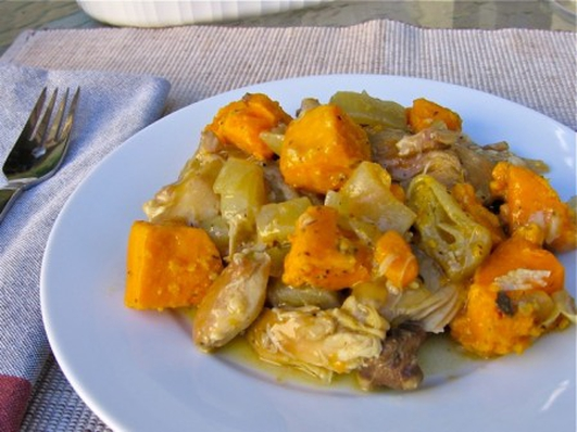 Nevens Recipes - Chicken thighs braised in cider with sweet potatoes.