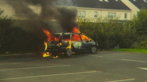 The car used in one of the robberies was found burned-out at the North City Business Park in Finglas