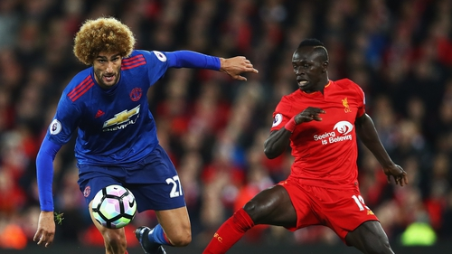 Marouane Fellaini in action against Sadio Mane last season