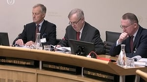 NAMA board members Oliver Ellingham (L), Willie Soffe and Brian McEnery appearing at the Public Accounts Committee