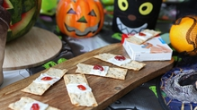 These Edible Plasters are a delicious Healthy Halloween Treat. Great fun to make and look scarily like the real deal especially if you put a box of plasters on the table with them!