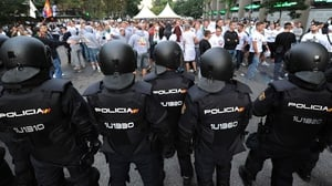 Spanish police watch over Legia Warsaw supporters