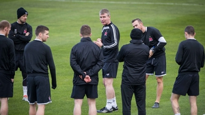 Stephen Kenny and his Dundalk players in a training session at Tallaght Stadium