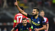 Antonio Candreva celebrates scoring the only goal of the game at the San Siro