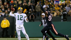 Aaron Rodgers in action for the Green Bay Packers