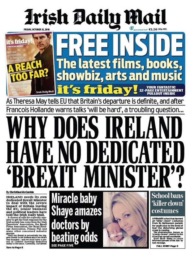 Irish Daily Mail Friday October 21st